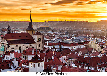 Top view to red roofs skyline of Prague city Czech republic