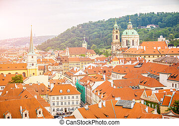 Top view to red roofs skyline of Prague city, Czech Republic
