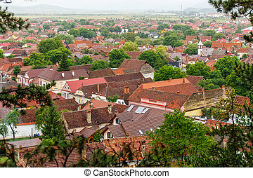 Top view to red tile roofs city.