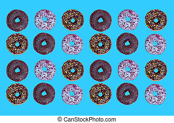 Top view to the donuts