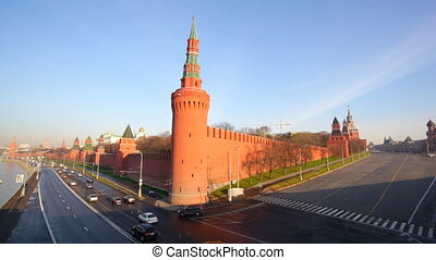 Top view to the Moscow Kremlin and embankment