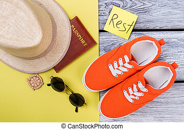 Top view travel and vacation items.