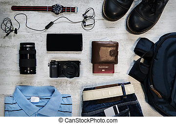top view travel items on the floor for mountain trip
