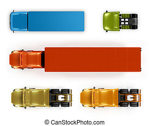 Top view trucks isolated on white