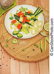 Top view vegetable salad