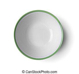 top view vintage ceramic bowl on white background