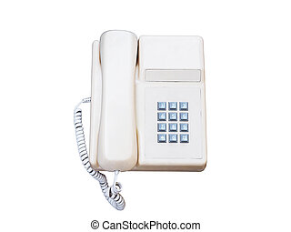 vintage cream telephone isolated on white background.