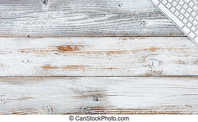 Top view white rustic desk with copy space