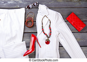 Top view women's clothes and accessories.