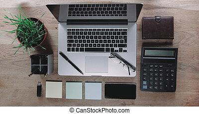 top view. work Desk in modern office