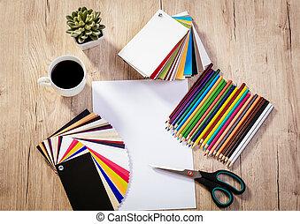 Top View Workplace Artist Designer