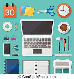 Top view workplace with mobile devices and documents vector design on the desk