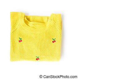 Top view yellow clothes knitting sweater on white background,workhouse concept