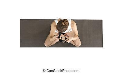 on alpha matte full length shot beautiful woman practice