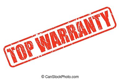 TOP WARRANTY red stamp text