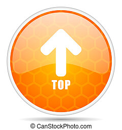 Top web icon. Round orange glossy internet button for webdesign.