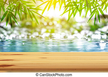 Top wood table with natural background.