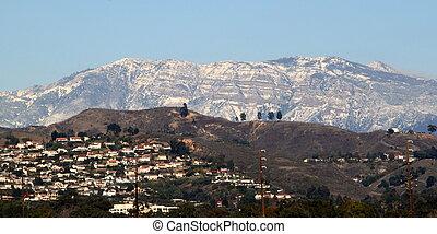 Snow on the mountains near Ventura California.