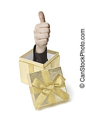 Eine Hand komt aus einer Geschenkebox heraus