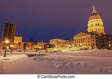 topeka, 堪薩斯, -, 入口, 到, 說明美國洲議會大廈大樓