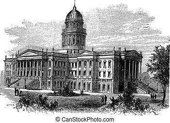 Topeka, Capitol of the state of kansas or Kansas Statehouse, vintage engraved illustration. The Kansas State Capitol during late 1800s. Trousset encyclopedia (1886 - 1891).
