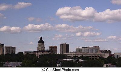 Topeka Kansas Capital Building Grounds Downtown City Skyline...