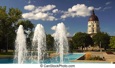 Topeka Kansas Capital Capitol Building Fountains Downtown...