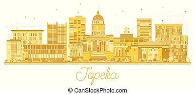 Topeka Kansas City Skyline Golden Silhouette.