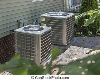 topení, a, klimatizace, zařízení