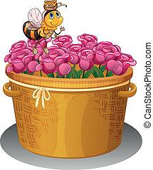 topf, fliegendes, biene, honig, oben, korb, blumen