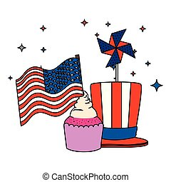 tophat with cupcake and usa flag wind toy