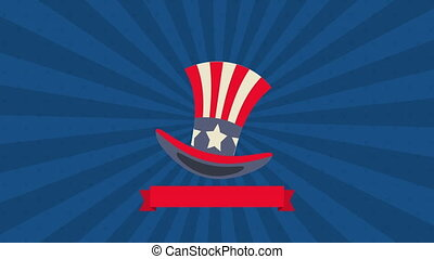 tophat with united states of america flag animation