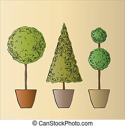 A vector illustration of three standard trees. Sketch style.