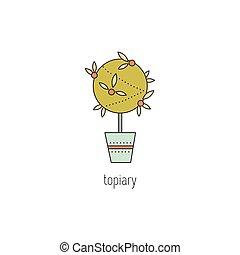 Topiary line icon - Topiary vector thin line icon. Handmade ...