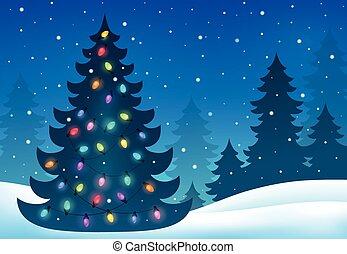 topic, árbol, silueta, navidad, 7