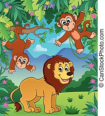 topic, イメージ, 動物, 3, ジャングル