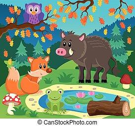 topic, イメージ, 2, 動物, 森林