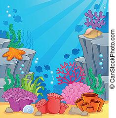 topic, イメージ, 3, 海中の