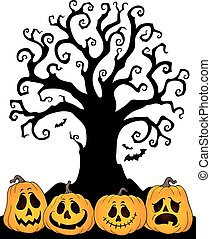 topic, シルエット, ハロウィーン, 2, 木