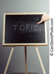 topic, チョーク, 書かれた, 黒, 黒板, 白