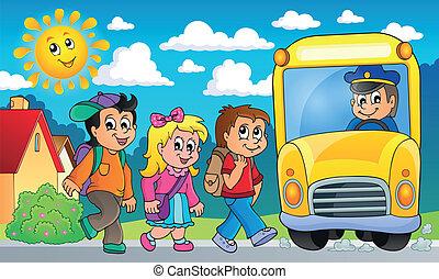 topic, バス, 学校, 2, イメージ