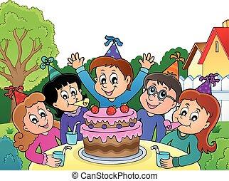 topic, パーティー, イメージ, 子供, 4