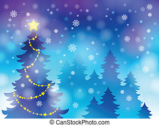 topic, 木, シルエット, クリスマス, 4