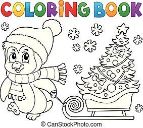 topic, 本, 7, ペンギン, 着色, クリスマス