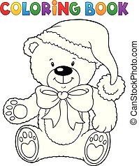 topic, 着色, テディ, 本, クリスマス, 熊