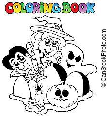 topic, 1, coloração, dia das bruxas, livro