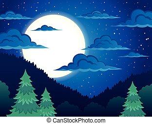 Campagne paysage nuit pr campagne arbre nuit - Dessiner un paysage d hiver ...