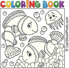 topic, 3, coloração, clownfish, livro