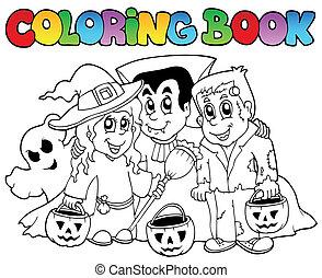 topic, 3, coloração, dia das bruxas, livro