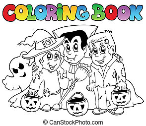 topic, 3, coloration, halloween, livre